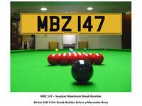 MBZ 147 – Snooker Maximum Break – Mercedes Benz - Cherished Personal Registration Number Plate