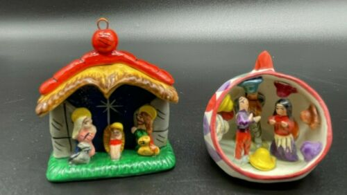 Vintage Peruvian Christmas Ornaments Nativity and party scene