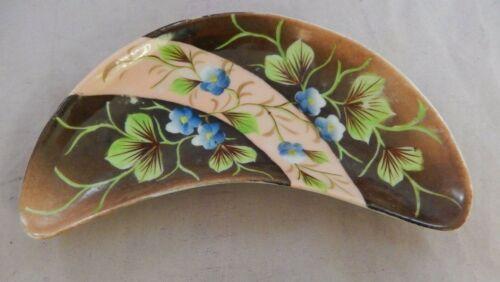Antique ES Depon Prussia 3454 Crescent Shaped Serving Dish Plate Blue Flowers