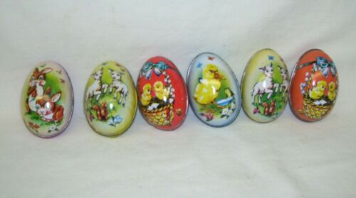 Tin Easter Eggs Chicks Lambs and Bunnies Lot of Six Vintage