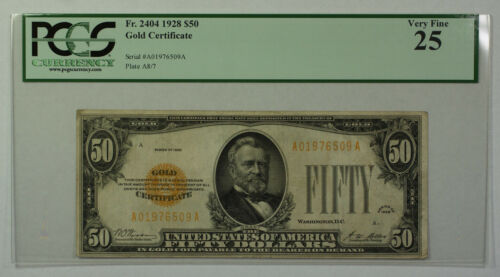 1928 $50 Bill Gold Certificate Note Currency PCGS VF-25 Fr. 2404