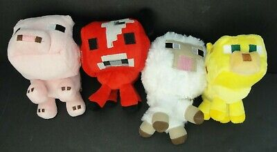 Minecraft Babies Sheep, Ocelot, Pig and Cow Plush Set, 6-8in MOJANG Lot of 4 (Wholesale Minecraft)