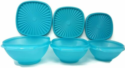 Tupperware Classic Servalier Bowls Set of 3 in Teal NEW