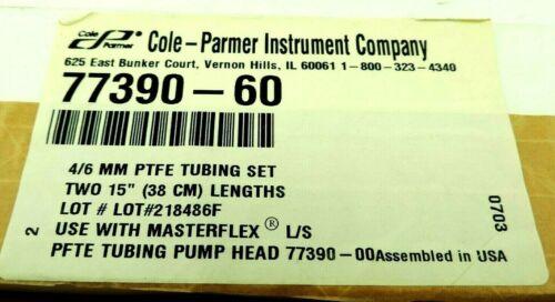 "Set of 2 Cole Palmer Masterflex L/S PTFE-Tubing Sets, 4 mm ID, 6 mm OD, 15"" Long"