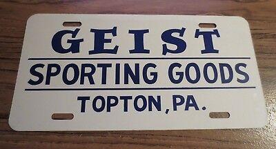 Vintage GEIST Sporting Goods TOPTON PA Pennsylvania Sign License Plate Topper