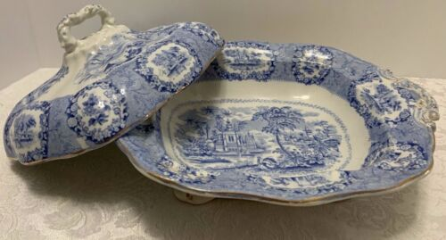 """Ridgway ORIENTAL Covered OVAL Vegetable Large Blue Transferware Engl 11"""" Antique"""