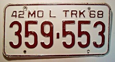 "1968 Missouri ""Local Truck"" ""42 Weight Class"" License Plate 359-553"