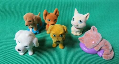 Puppy in my pocket flocked  fuzzy 6 mini pet dogs cats figure Pocketville MEG