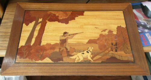 """Vintage Wood Inlaid Hunting Dog Scene 22"""" X 14"""" Wall Art Panel Picture Marquetry"""