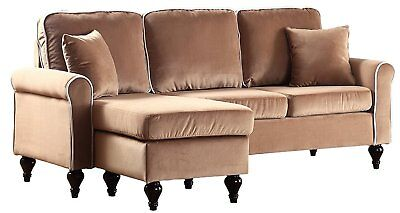 Classic and Traditional Small Space Velvet Sectional Sofa with Reversible...