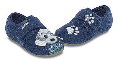 Living Kitzbühel 3045-585 Hund mit Brille Hausschuhe Wolle blau Gr. 24, 28 Neu
