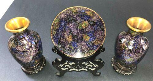 Stunning JINGFA Cloisonne Black Gold Purple Vases + Plate on Asian Stands L@@K!