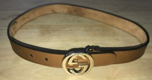 Gucci Kids Brown leather Silver-Tone GG logo buckle waist belt 23 inches