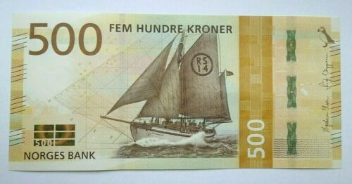 NORWAY NORGES BANK  500 Kronor  2018  P-NEW DESIGN  UNC Banknote