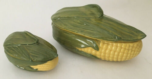 LOT 2 Vintage SHAWNEE Pottery Corn #74 Large & #73 Small Covered Lids Casseroles