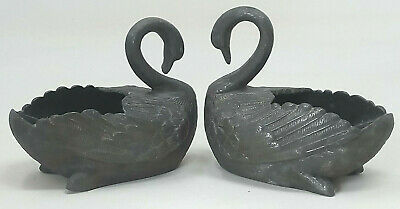 Ornate Pair Spelter Swan Bon Bon Dishes / Salts Metal