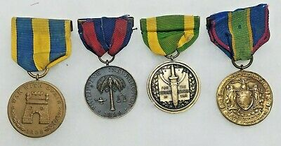 Original Lot of 4 US Spanish American Period Campaign,WW1 Numbered Medals