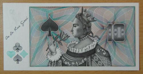 """GIORI """"Queen of Spades"""" De La Rue Specimen Test Note ! Paper Money """"10"""" Denom."""