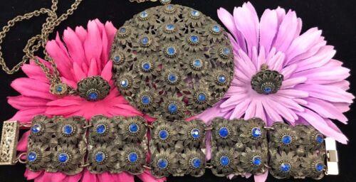 Vintage Art Nouveau Blue Rhinestone Necklace Bracelet Earring Set