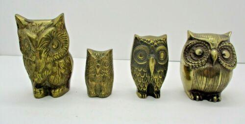 4 Vintage Brass Owl Figures
