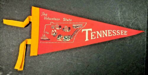 Vintage felt pennant Tennessee The Volunteer State  pre-owned