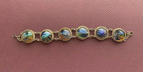 Vintage  Butterfly Wing Tropical Scene  Bracelet Silver Made in Brazil