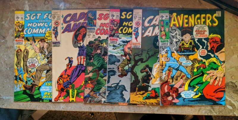 Silver Age Comic Lot LOOK! Captain America 111,113 Avengers 86 Sgt Fury 84,85,36