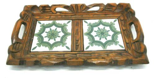 Vintage Wooden Hand Carved Ceramic Tile Serving Tray Wood Handles Handmade