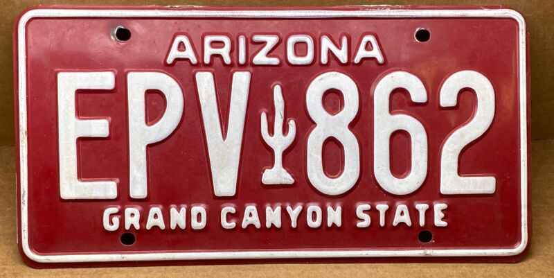 RARE ( EPV🌵862  )ARIZONA MAROON CACTUS LICENSE PLATE