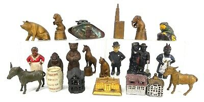 Antique Cast Iron Coin Banks Lot of 21 - Animals Buildings Military Billiken