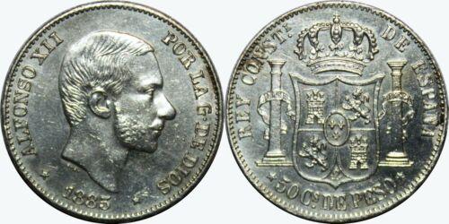 1885 Spain/Philippines 50 Centimos ~ AU Details ~ KM#150 ~ Silver ~ MX448