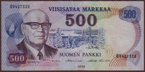 FINLAND  500 Markkaa  1975    Prefix B