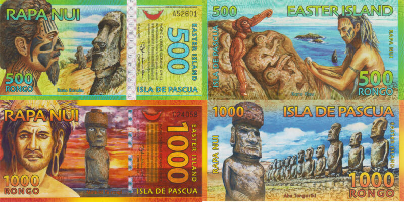 Easter Island 2 Note Set: 500 and 1000 Rongo UNC