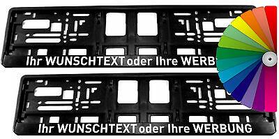 2 Stück Kennzeichenhalter mit WUNSCHTEXT - VOLLUMRANDUNG - Nummernschildhalter