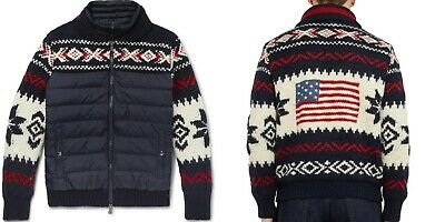 $695 Polo Ralph Lauren Fiar Isle Wool Quilted Down USA Flag Liner Bomber Jacket