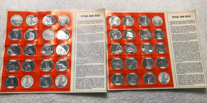 Vintage 60s Lot Sunoco Landmarks of America Coin Game Original Game Card Gas Oil