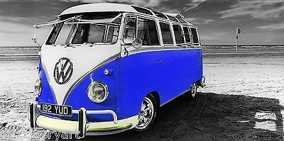 VW Camper Van Blue Canvas Multiple Sizes Wall Art Poster Print Surfing campervan ()