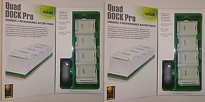 2 Dreamgear Xbox 360 White Quad Dock Pro Charge 4 Battery...