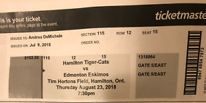 Selling Two Cheap VIP Tickets For The Hamilton Ti-CATS Game
