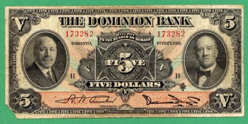 "1931 "" The Dominion Bank ""     Canada five dollars Canadian 5 dollar 220-24-02"