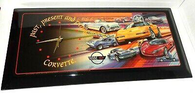 Vintage Corvette GM Past Present Future Wooden Wall Clock 23 x 11 Man Cave