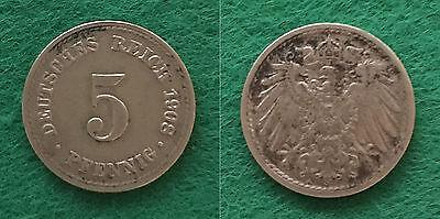 5 Pfennig 1908 A, Dt. Kaiserreich, Kursmünze, Jäger 012 - Erhaltung: Sehr schön