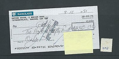 wbc. - CHEQUE - CH1193- USED -1991- BARCLAYS BANK, YSTRADGYNLAIS, SWANSEA