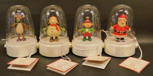 Hallmark 2008 Happy Tappers Set of 4 Santa Snowman Reindeer Elf With Tags