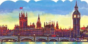 Large Format Die-Cut London Art Postcard, Houses of Parliament & Big Ben NEW