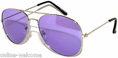 COLORED PURPLE LENS AVIATOR STYLE METAL SUNGLASSES SILVER FRAME SHADES 99% UVB Frame Purple Lens