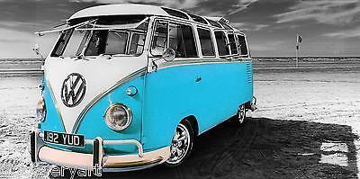 VW Camper Van Light Blue Canvas Wall Art Poster Print Surfing Campervan  ()