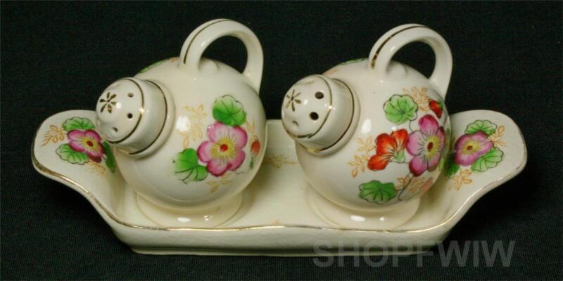 Vintage Moriyama Mori Machi Floral Porcelain Salt & Pepper Shakers On Tray 1920s