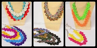 18 Fashion Seed Bead Braided Necklaces Costume Jewelry Wholesale BULK Lot USA (Bead Necklaces Wholesale)
