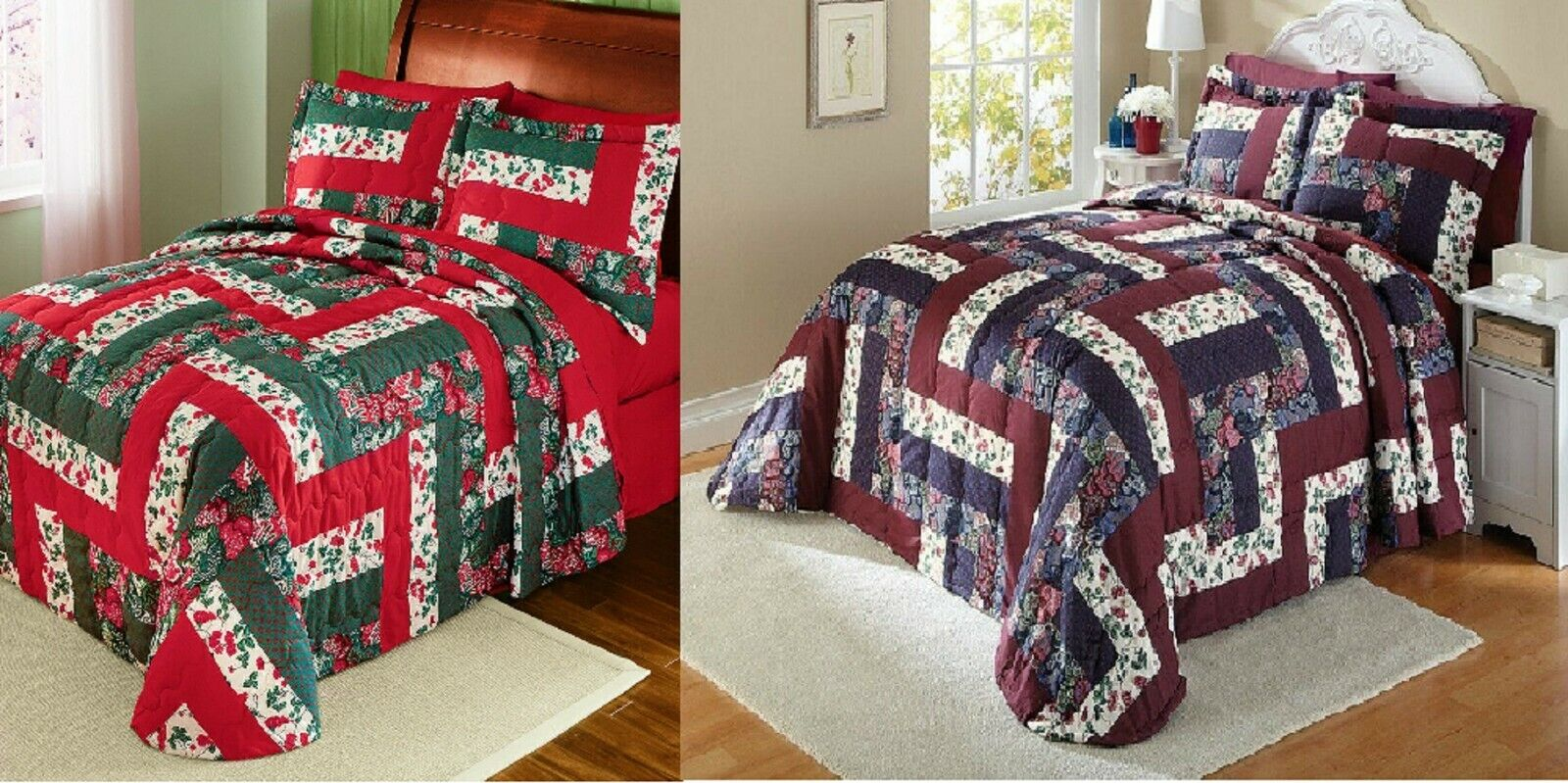 Caledonia Floral Patchwork Quilted Medium-weight Bedspread Full Queen King Color Bedding